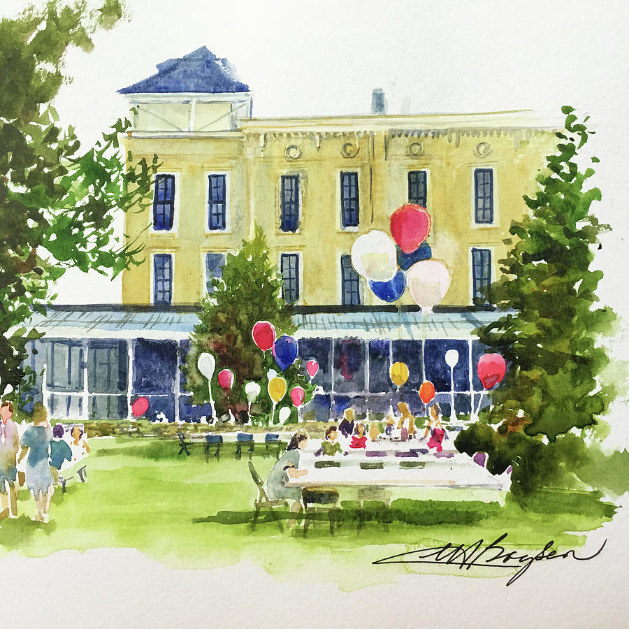 Lakeside Painting - Ice Cream Social And Strawberry Festival, Lakeside, Oh by Maryann Boysen