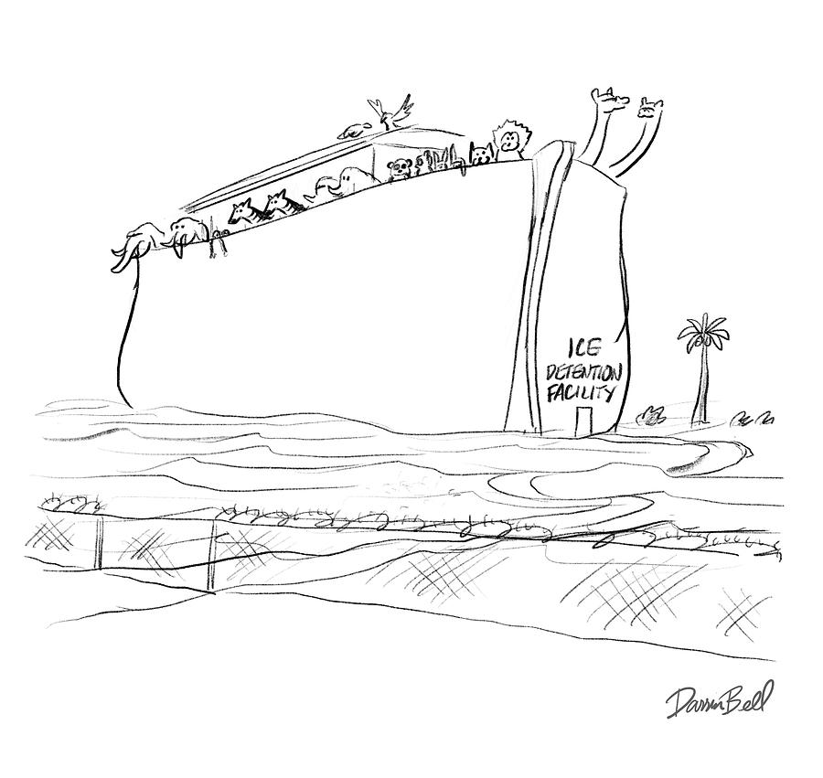 Ice Detention Facility Drawing by Darrin Bell