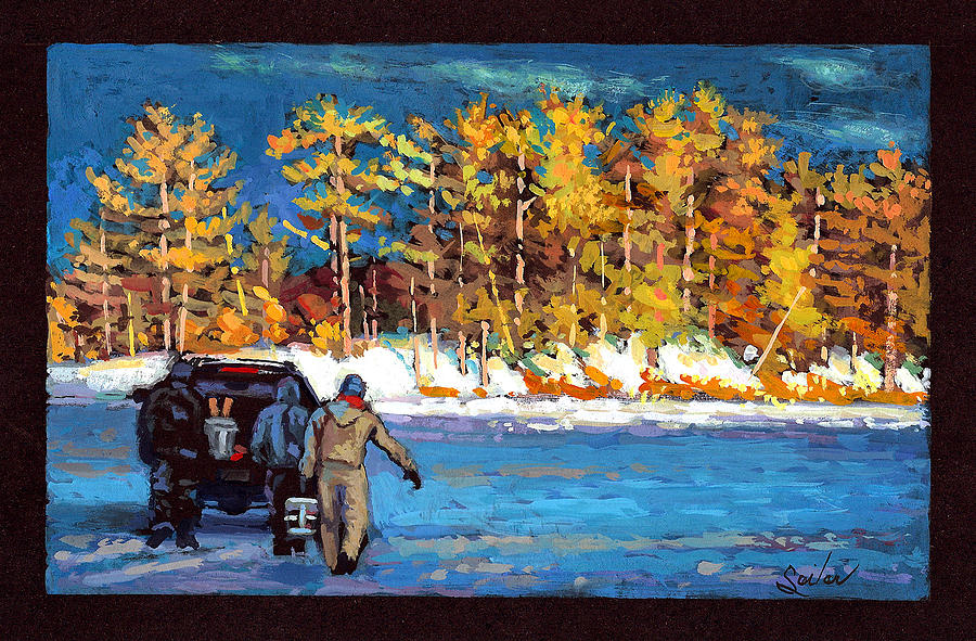 Fishing Painting - Ice Fishin Buddies by Larry Seiler
