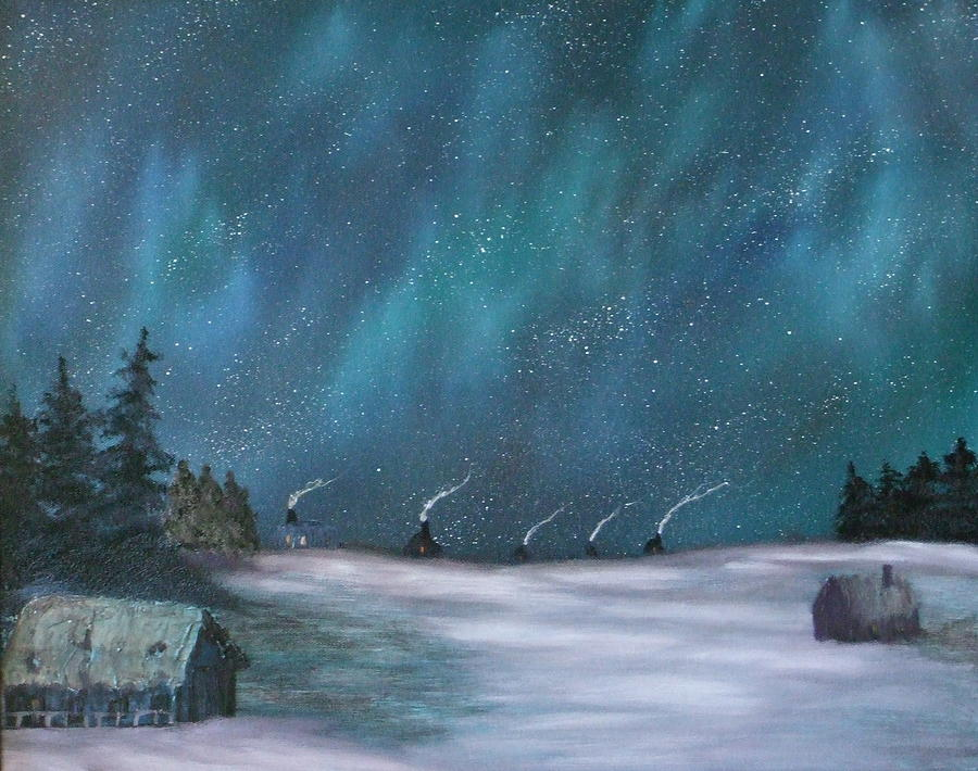Muskoka Painting - Ice Fishing Huts by Rebecca  Fitchett