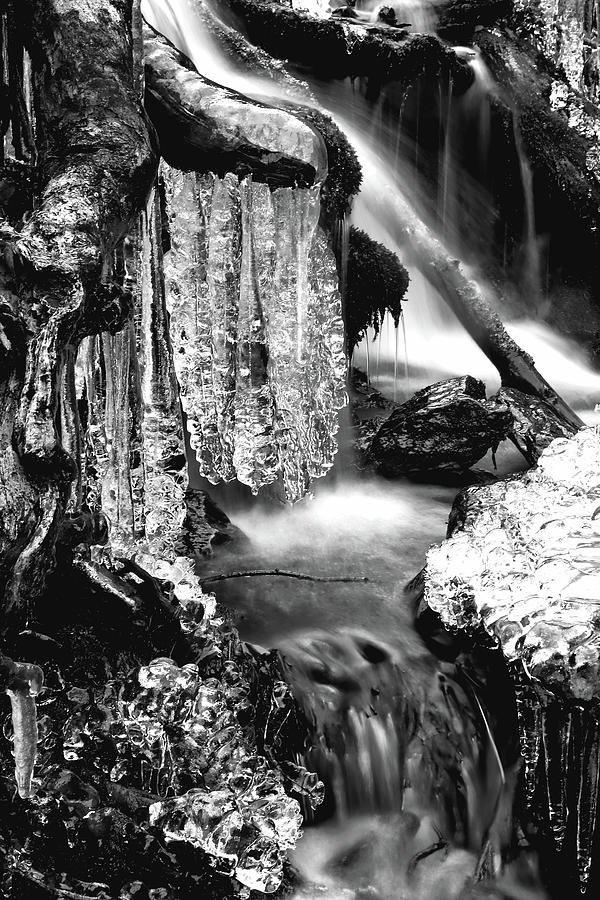 Ice Formations I In Black And White Photograph