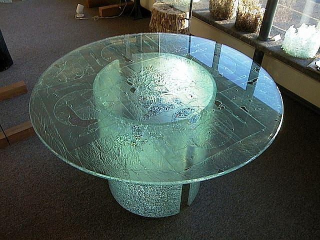 Glass Table Sculpture   Ice Glass Tabletop With Cold Bent Glass Bases By  Rick Silas