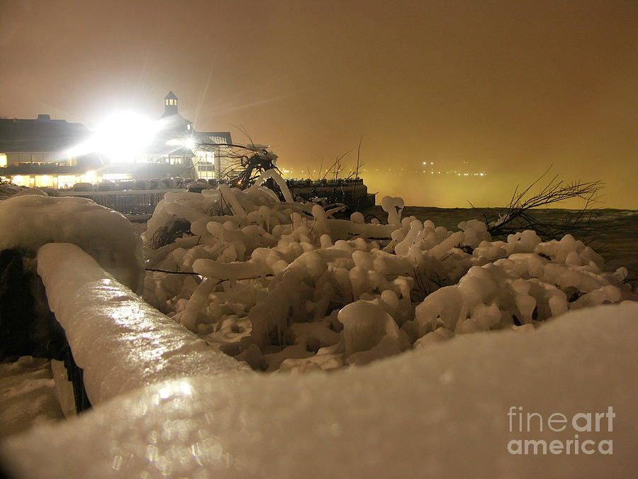 Falls Photograph - Ice In Sepia by Deborah Selib-Haig DMacq