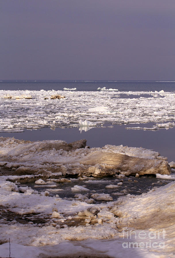 Water Photograph - Ice On Lake Huron by Kathy DesJardins