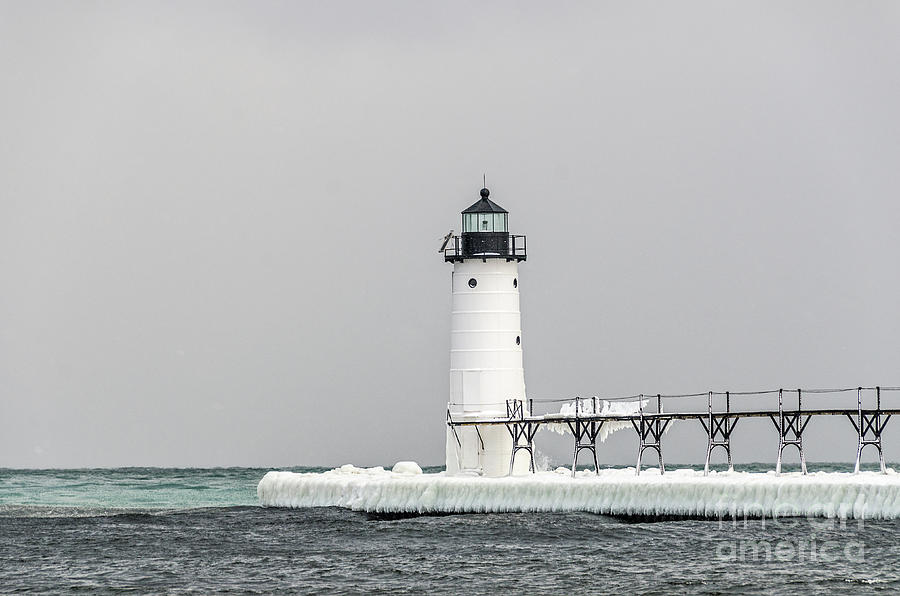 Ice On the Pier at Manistee Light by Sue Smith