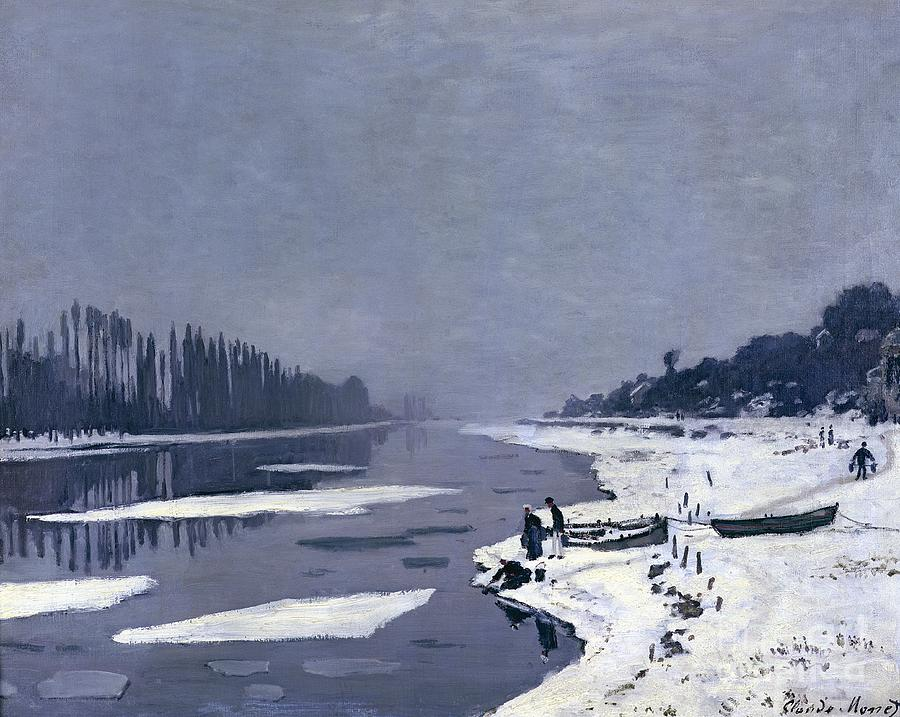 Claude Painting - Ice On The Seine At Bougival by Claude Monet