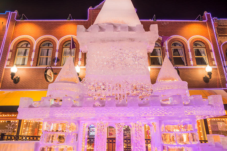 Ice Sculpture Photograph - The Annual Ice Sculpting Festival In The Colorado Rockies, The Castle With A Parapet by Bijan Pirnia