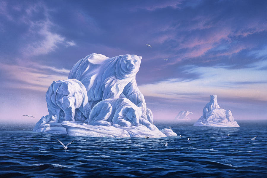Polar Bear Painting - Icebeargs by Jerry LoFaro