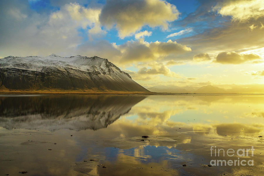 Iceland Photograph - Iceland Golden Cloudscape And Snow Dusted Peaks by Mike Reid