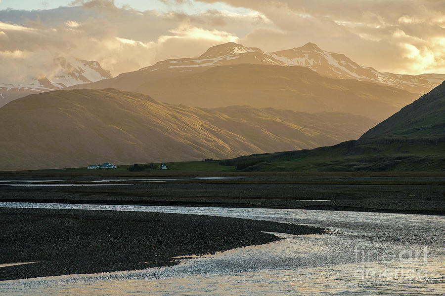 Iceland Golden Light Mountains And Water Photograph