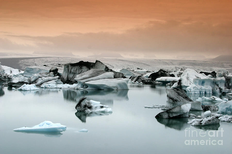 Blue Photograph - Iceland, Jokulsarlon Glacial Lagoon , Icebergs melting by Juergen Held