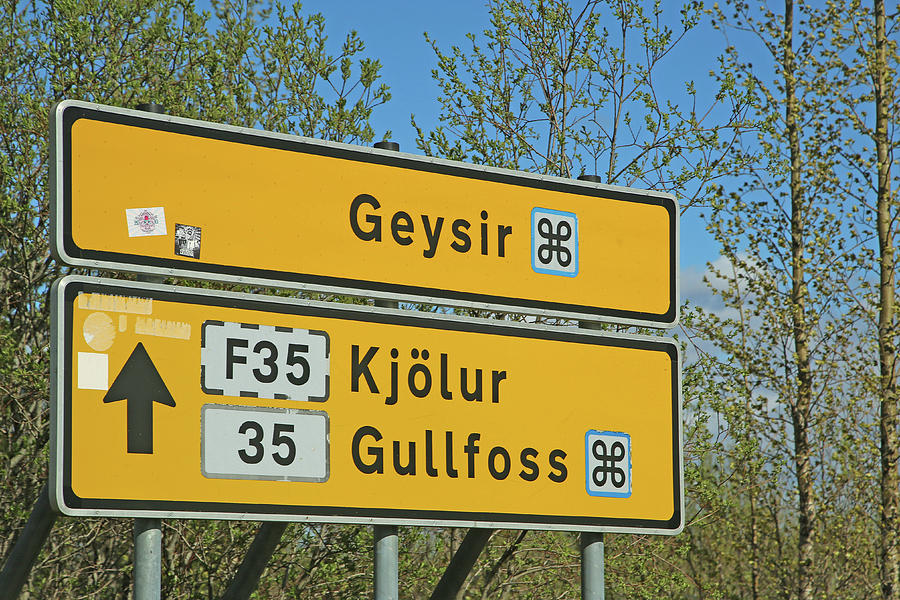 Iceland Photograph - Iceland Road Sign Geysir by Betsy Knapp