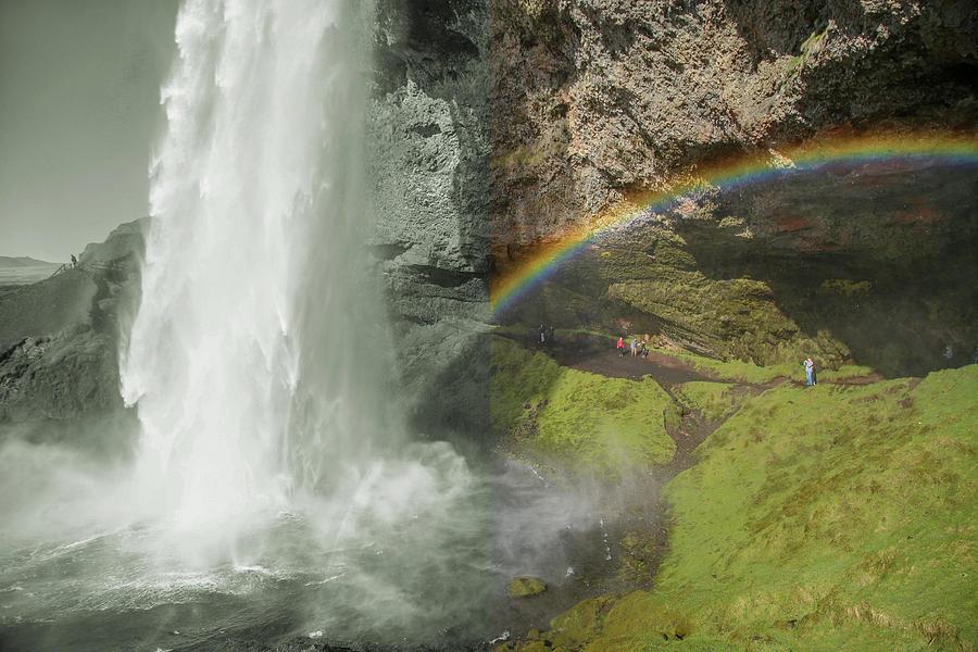 Iceland Skogafoss Natural Beauties Split Photograph