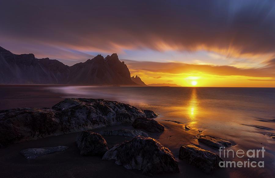 Iceland Photograph - Iceland Stokksnes Dramatic Sunrise Landscape by Mike Reid
