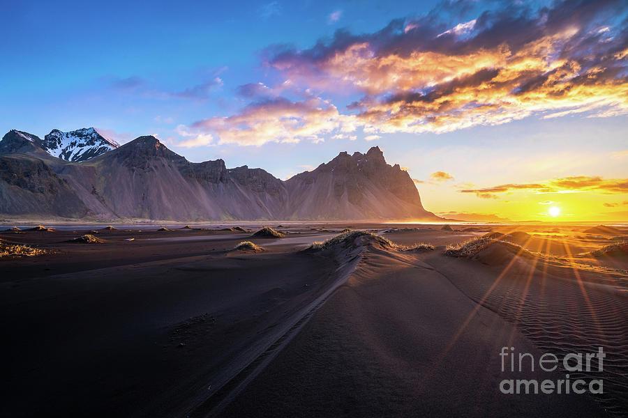 Iceland Photograph - Iceland Sunrise Beach Sunrays by Mike Reid