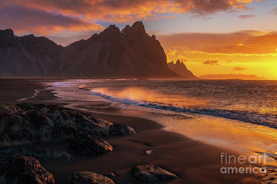 Iceland Photograph - Iceland Sunrise Beach Wavespray by Mike Reid
