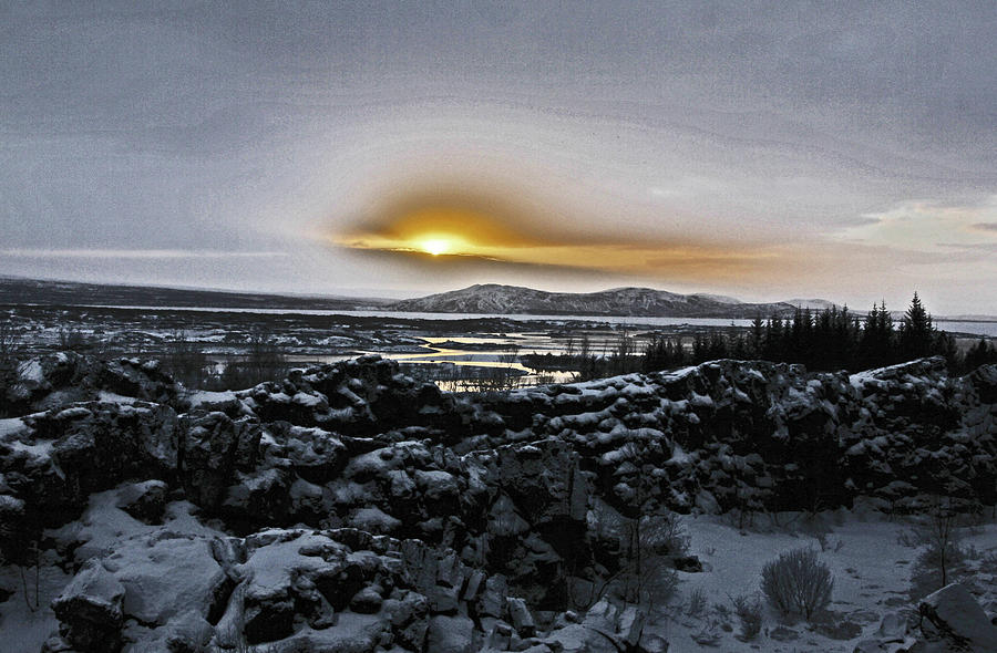 Iceland Sunrise Iceland Lava Field Streams Sunrise Mountains Clouds Iceland 2 2112018 1095.jpg Photograph by David Frederick