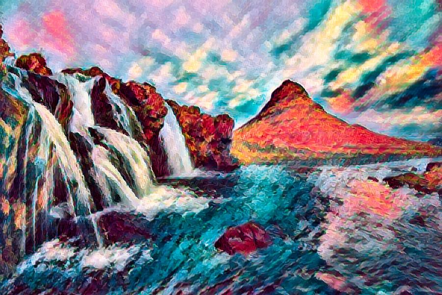 Abstract Photograph - Iceland Waterfalls by Robert Kinser
