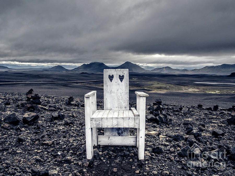 Chair Photograph - Iceland White Chair Wide by Edward Fielding