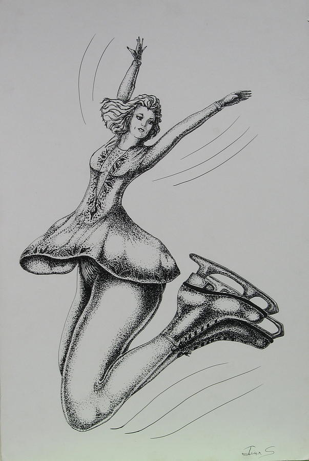 People Drawing - Iceskater by Joan Taylor-Sullivant
