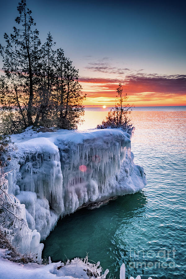 Door County Photograph - Icicle Cliffs by Ever-Curious Photography