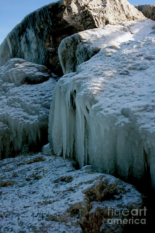 Winter Photograph - Icicles On The Rocks by Kathy DesJardins