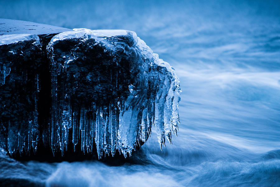 Ice Photograph - Icicles On The Rocks by Tim Beebe