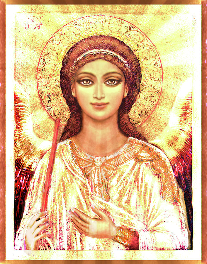 Christ Mixed Media - Icon Angel In A White Halo by Ananda Vdovic