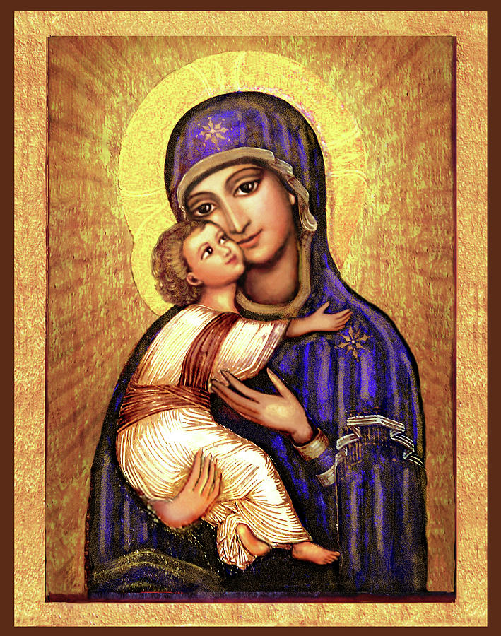 Mary And Jesus Mixed Media - Icon Madonna and Infant Jesus by Ananda Vdovic