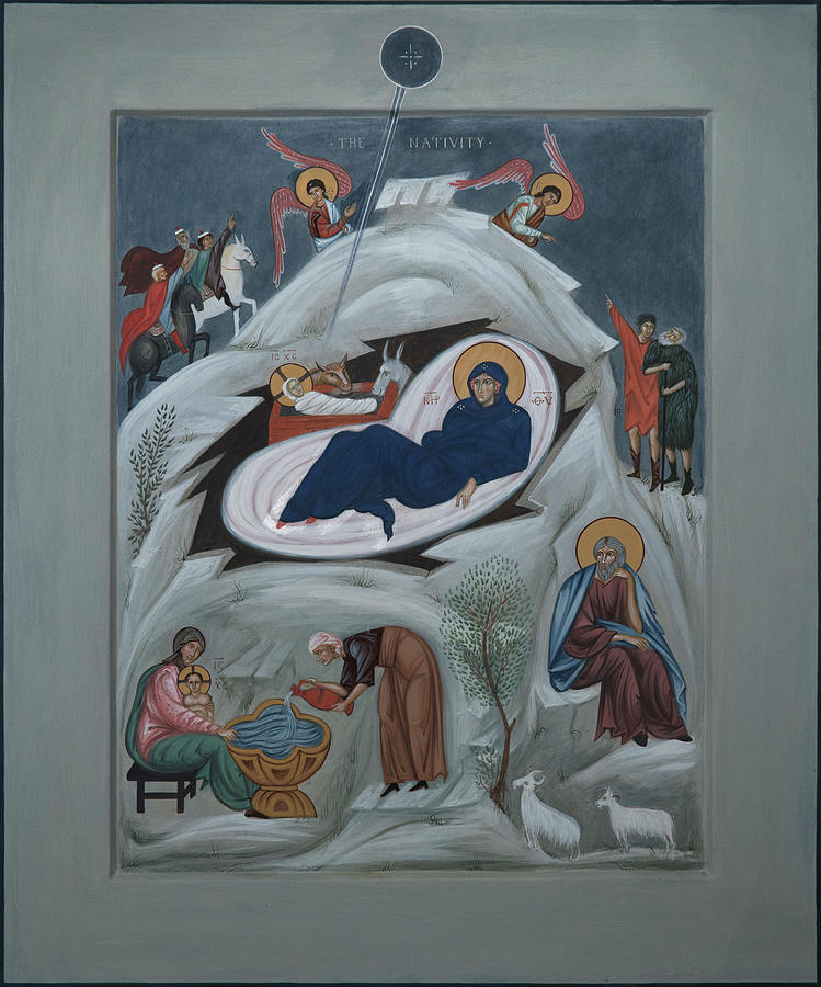 Icon Of The Nativity Of Christ Mixed Media by Philip Davydov