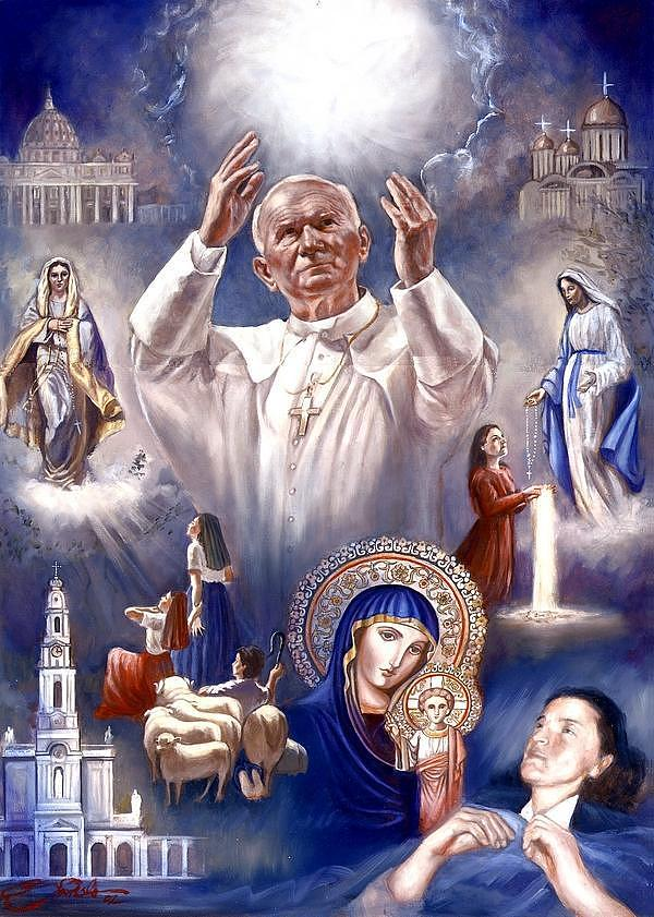 Pope John Paul Ii Painting - Icon Union Of East And West In Christ by Mark Sanislo