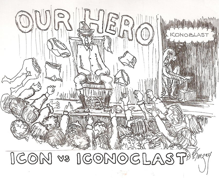 Icon V Iconoclast Drawing by Roger Swezey