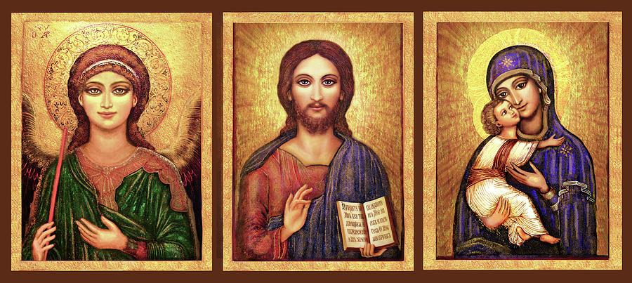 Mary And Jesus Mixed Media - Icons Tryptichon by Ananda Vdovic