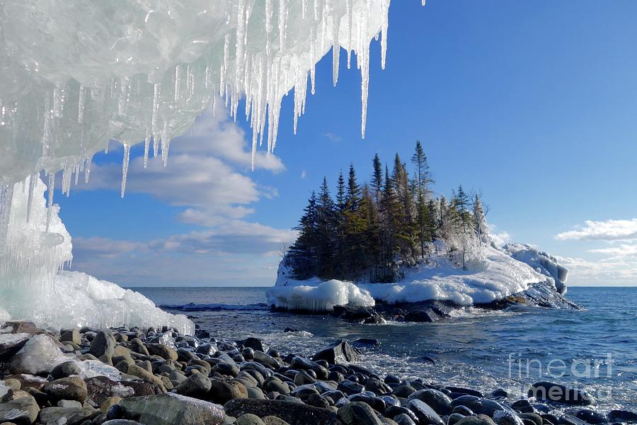 Icicles Photograph - Icy Island View by Sandra Updyke