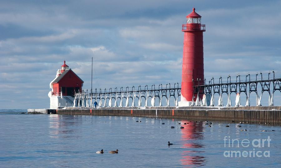 Lighthouse Photograph - Icy Lighthouse by Ann Horn
