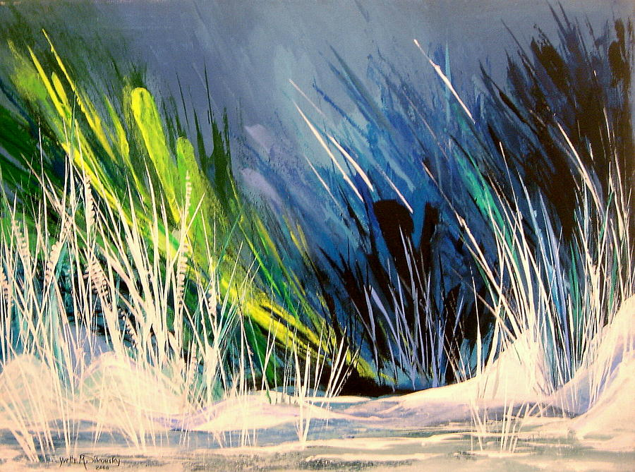 Abstract Painting - Icy Pond by Yvette Sikorsky