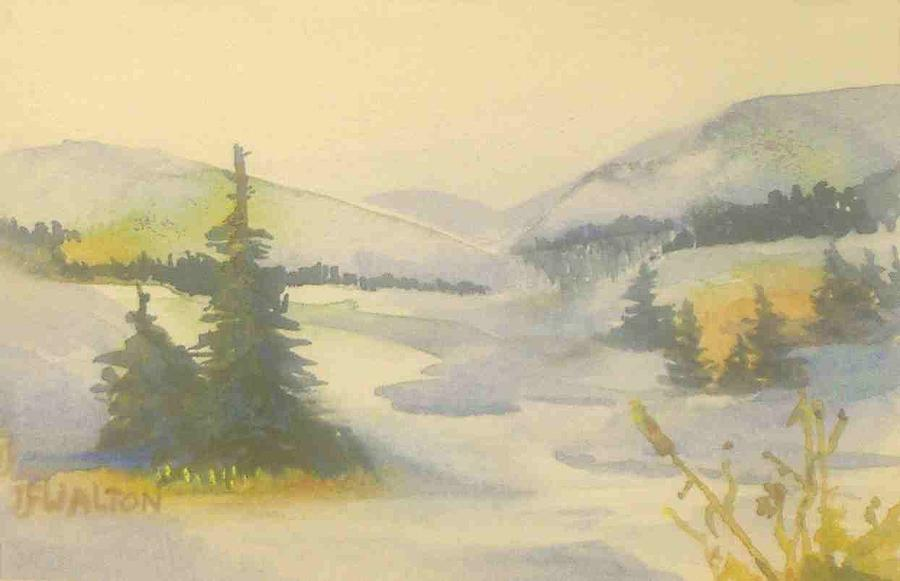 Winter Landscape Painting - Icy River by Judy Walton