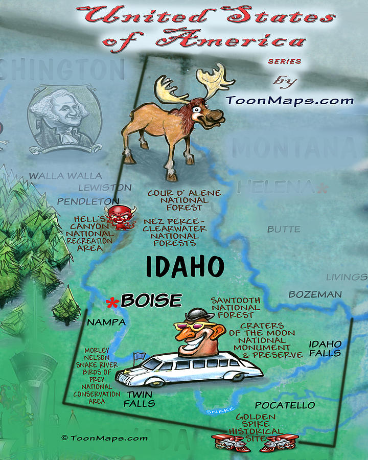 Idaho Fun Map Digital Art