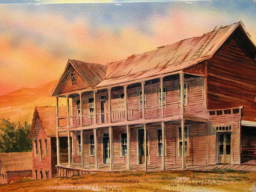 Ghost Town Painting - Idaho Hotel Silver City Ghost Town Idaho by Kevin Heaney