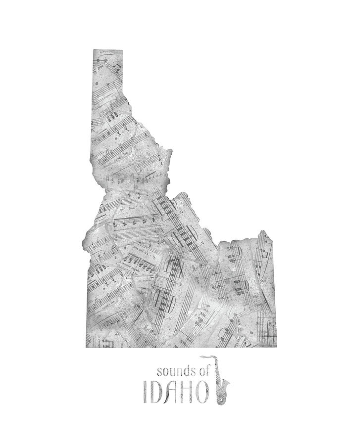 Idaho Map Music Notes Digital Art