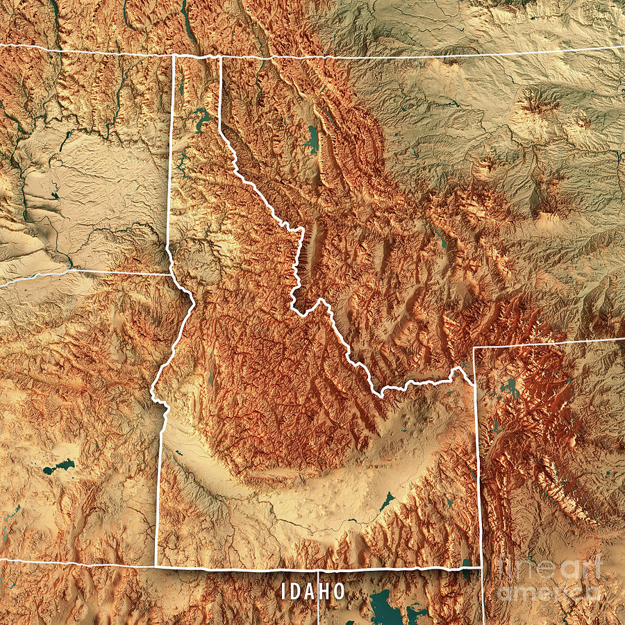 Idaho State Usa 3d Render Topographic Map Border