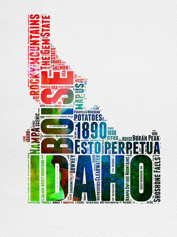 Idaho Watercolor Word Cloud