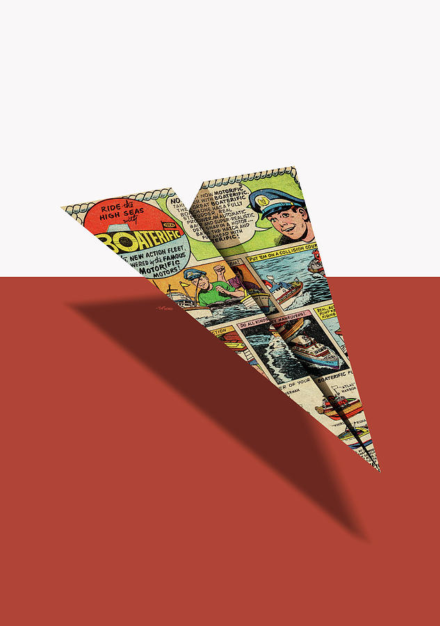 4b516654009c Advertising Digital Art - Ideal Boaterific Comic Book Ad Paper Airplane by  YoPedro