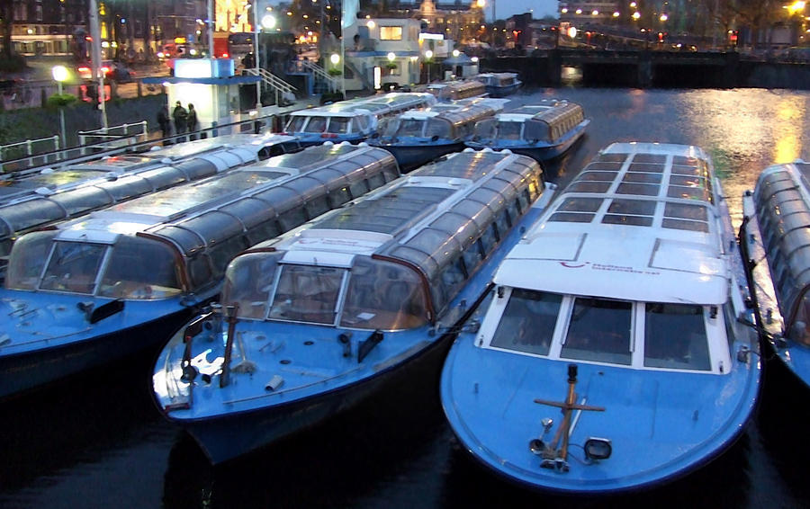 Amsterdam Photograph - Idle Tour Boats -- Amsterdam In November by Mark Sellers