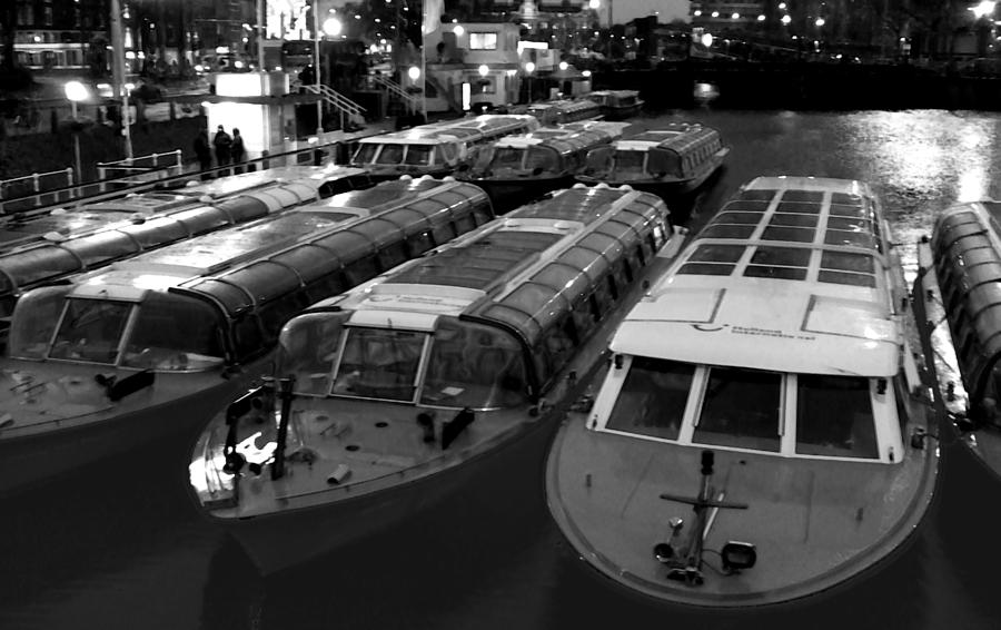 Amsterdam Photograph - Idle Tour Boats -- Amsterdam In Winter Bw by Mark Sellers