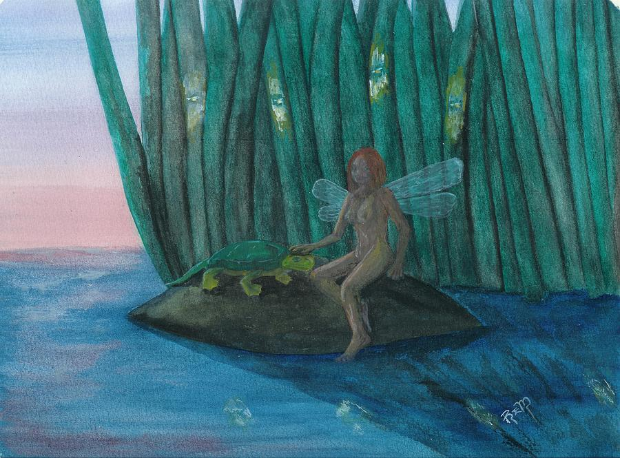 Fairy Painting - Idly Watching Fireflies...no. Two by Robert Meszaros