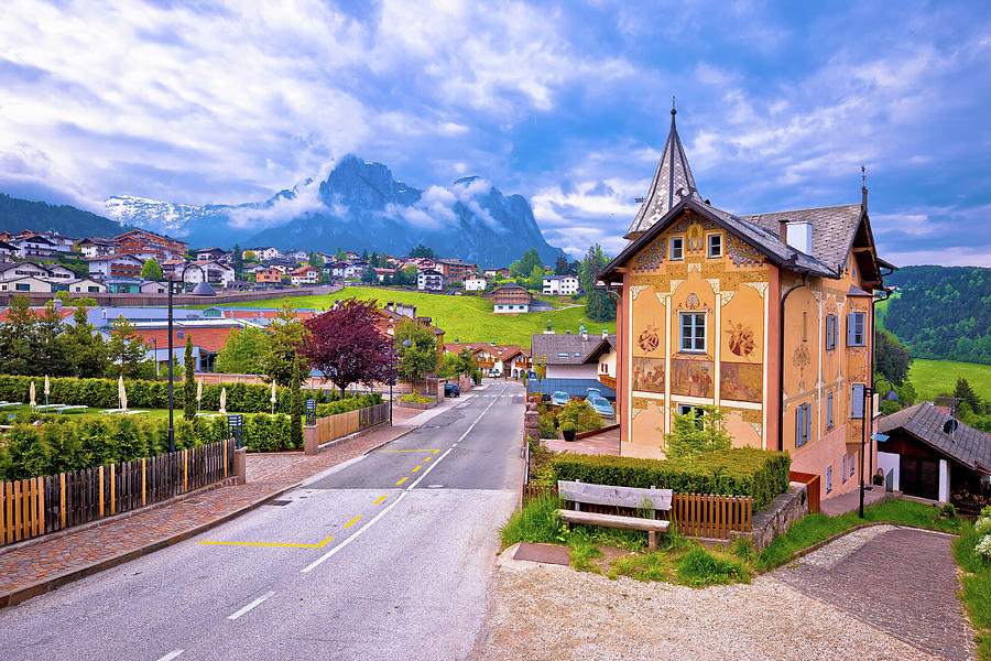 Italia Photograph - Idyllic Alpine Town Of Kastelruth Architecture And Mountains Vie by Brch Photography