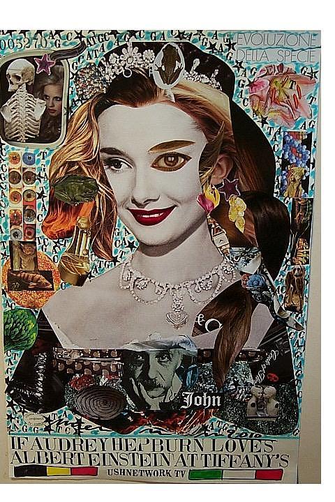 Portrait Of Audrey Hepburn Refashioned Recombed 2010 Francesco Martin  Mixed Media - If Audrey Hepburn Loves Albert Einstein At Tiffanys by Francesco Martin