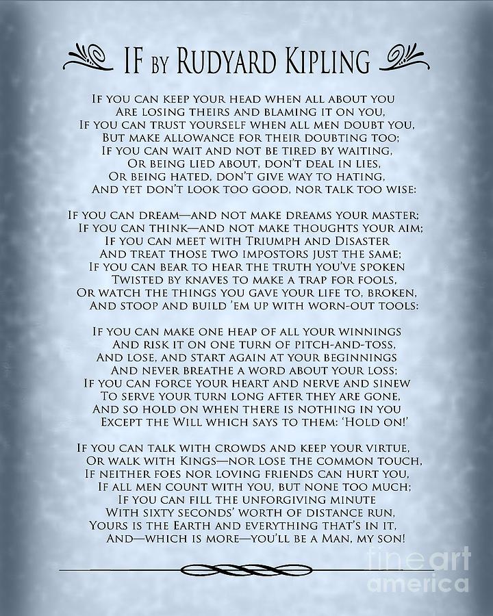 explication of rudyard kipling s if