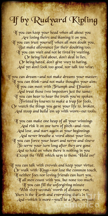 If By Rudyard Kipling Long Parchment Style